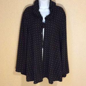 Nyah Women's XL flowing hoodie jacket, Grey/olive